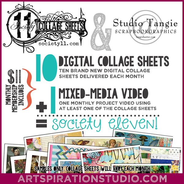 society11, Tangie Baxter and Artspiration Studio bring you a new Collage Sheet of the month club!