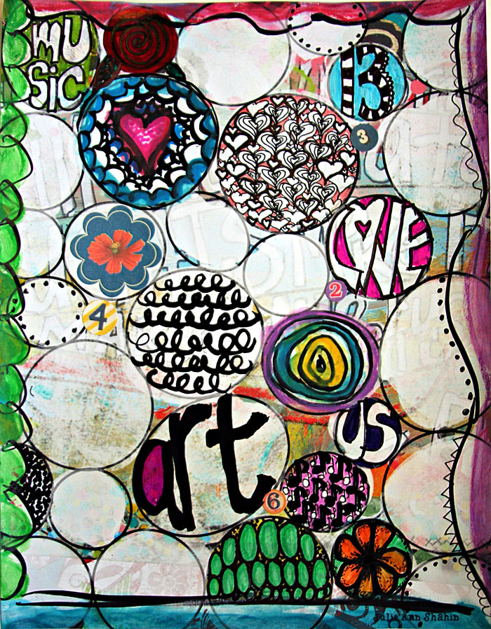 Buildable Art Journal Page by Julie Ann Shahin (doodles)