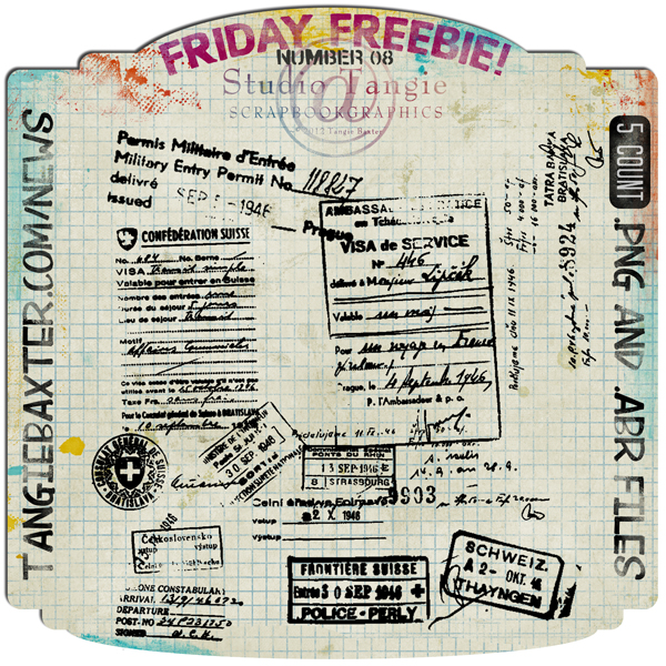 Studio Tangie Friday Freebie Ephemera and Brushes