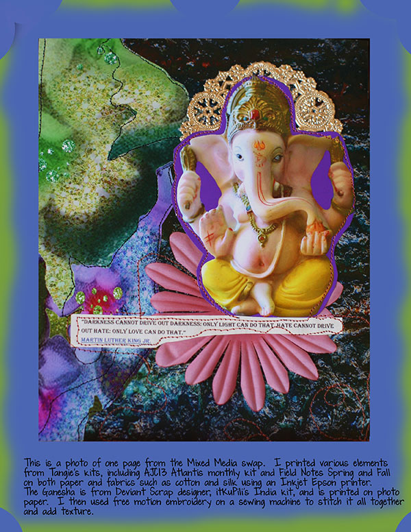 Ganesha mixed media fusing example for Tangie Baxter's blog